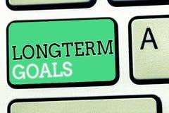 Tekstteken die Doelstellingen Op lange termijn tonen Conceptueel foto Strategisch doel dat meer tijd voor voltooiing wordt vereis stock afbeeldingen