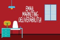 Tekstteken die E-mail tonen die Deliverability op de markt brengen Conceptuele fotocapaciteit om e-mail aan abonnees Minimalistis stock illustratie