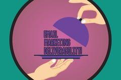 Tekstteken die E-mail tonen die Deliverability op de markt brengen Conceptuele fotocapaciteit om e-mail aan de analysehanden van  stock illustratie