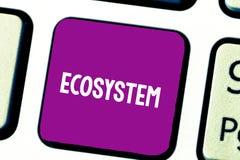 Tekstteken die Ecosysteem tonen Conceptuele foto biologische gemeenschap van de op elkaar inwerkende organismen en sleutel van he stock fotografie