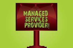 Tekstteken die Geleide Dienstverlener tonen Conceptueel fotoit de dienstbedrijf dat de dienst aan eind - gebruiker Lege Lamp aanb stock afbeelding