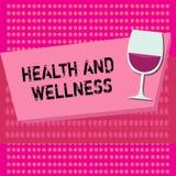 Tekstteken die Gezondheid en Wellness tonen Conceptuele fotostaat van volledig fysiek, geestelijk en sociaal welzijn stock illustratie