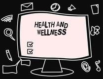 Tekstteken die Gezondheid en Wellness tonen Conceptuele fotostaat van volledig fysiek, geestelijk en sociaal welzijn royalty-vrije illustratie