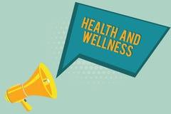 Tekstteken die Gezondheid en Wellness tonen Conceptuele fotostaat van volledig fysiek, geestelijk en sociaal welzijn vector illustratie