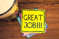 Tekstteken die Groot Job Motivational Call tonen Conceptueel Goed uitgevoerd Goed de resultatencompliment van het foto's Uitsteke royalty-vrije stock foto