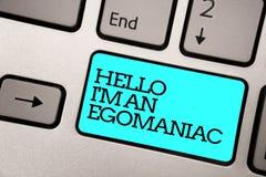 Tekstteken die Hello tonen ben ik een Egomaniac De conceptuele Zilveren grijze computer k van het foto Egoïstische Egocentrische  royalty-vrije stock afbeeldingen