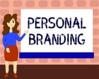 Tekstteken die het Persoonlijke Brandmerken tonen Conceptuele foto die en hun carrières op de markt brengen als merken stock illustratie