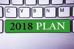 Tekstteken die het Plan van 2018 tonen De conceptuele Doelstellingen van foto Opwindende Ideeën voor Nieuwjaarmotivatie om te beg Stock Afbeeldingen