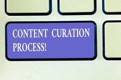 Tekstteken die het Proces van Inhoudscuration tonen Conceptuele foto die informatie relevant voor de bijzondere sleutel van het o stock afbeeldingen