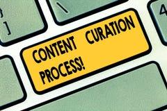 Tekstteken die het Proces van Inhoudscuration tonen Conceptuele foto die informatie relevant voor de bijzondere sleutel van het o royalty-vrije stock foto's