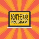Tekstteken die het Programma van Werknemerswellness tonen De conceptuele fotohulp verbetert de gezondheid van zijn beroepsbevolki royalty-vrije stock foto
