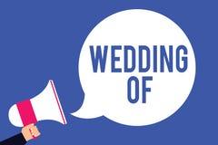 Tekstteken die Huwelijk tonen van Conceptuele foto die die mens en vrouw aankondigen nu als echtpaar voor altijd Man holdingsmega vector illustratie