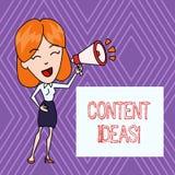 Tekstteken die Inhoudsideeën tonen Conceptuele foto de geformuleerde gedachte of het advies voor inhoudscampagne royalty-vrije illustratie