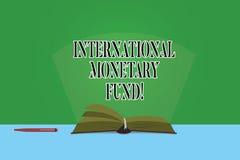 Tekstteken die Internationaal Monetair Fonds tonen De conceptuele foto bevordert de internationale financiële Pagina's van de sta vector illustratie
