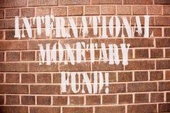 Tekstteken die Internationaal Monetair Fonds tonen E royalty-vrije stock afbeeldingen