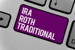 Tekstteken die Ira Roth Traditional tonen De conceptuele foto is voor de belastingen aftrekbaar op zowel staat als federaal Toets royalty-vrije stock afbeelding