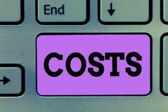 Tekstteken die Kosten tonen Het conceptuele Bedrag van fotouitgaven dat moet worden betaald besteed om te kopen verkrijgt iets stock afbeeldingen