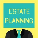 Tekstteken die Landgoed Planning tonen Conceptuele foto het beheer en de verwijdering van het landgoed van die persoon royalty-vrije illustratie