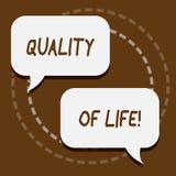 Tekstteken die Levenskwaliteit tonen Het conceptuele Welzijn van het Geluk Plezierige Ogenblikken van de foto Goede Levensstijl royalty-vrije illustratie