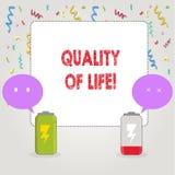 Tekstteken die Levenskwaliteit tonen Het conceptuele Welzijn van het Geluk Plezierige Ogenblikken van de foto Goede Levensstijl vector illustratie