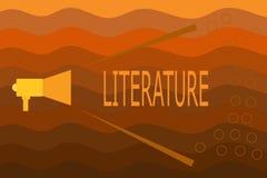 Tekstteken die Literatuur tonen Conceptueel die de boekengeschrift van fotogeschriften over een bepaald onderwerp wordt gepublice vector illustratie
