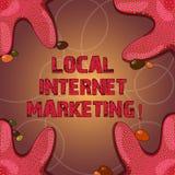 Tekstteken die Lokale Internet-Marketing tonen Conceptueel fotobereik de klanten die aan u Zeesterfoto op Vier dichtst zijn stock illustratie