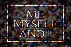 Tekstteken die me zelf en I tonen Conceptuele foto egoïstische zelf-onafhankelijke die de verantwoordelijkheid van de kaartberich royalty-vrije stock foto's