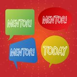 Tekstteken die Mentor tonen Conceptuele fotopersoon die advies of steun aan jongere minder ervaren geeft stock illustratie