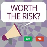 Tekstteken die met een waarde van de Risicokwestie tonen Conceptuele foto vragen die of bracht bepaalde actie met zijn reactie in stock illustratie