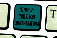 Tekstteken die Minimum Remmende Concentratie tonen Conceptuele foto laagste concentratie van een chemische Toetsenbordsleutel royalty-vrije stock afbeeldingen
