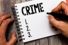 Tekstteken die Misdaad tonen Conceptuele de acties Onwettige Activiteiten van de foto Federale Inbreuk strafbaar door Wet stock afbeelding