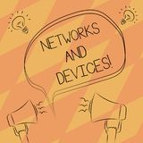 Tekstteken die Netwerken en Apparaten tonen Conceptuele die foto wordt gebruikt om computers of andere elektronische apparaten Ui vector illustratie
