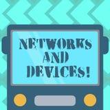 Tekstteken die Netwerken en Apparaten tonen Conceptuele die foto wordt gebruikt om Getrokken computers of andere elektronische ap vector illustratie