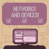 Tekstteken die Netwerken en Apparaten tonen Conceptuele foto die wordt gebruikt om Opgezette computers of andere elektronische ap stock illustratie
