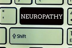 Tekstteken die Neuropathie tonen Conceptuele fotodefecten van het zenuwenverlies van betekenis in de handen en de voeten royalty-vrije stock fotografie