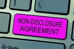 Tekstteken die niet Onthullingsovereenkomst tonen Het conceptuele Materiaal of de Informatie van het foto Juridische Contract Ver stock foto's