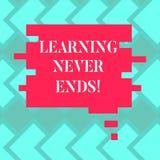 Tekstteken die nooit Lerend Einden tonen De conceptuele fotokennis heeft geen eind of eindeloos het laatste voor altijd Leeg vector illustratie