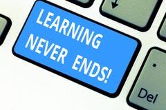 Tekstteken die nooit Lerend Einden tonen E vector illustratie