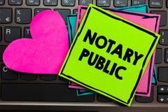 Tekstteken die Notaris Public tonen Conceptuele van de de Certificatie documentatievergunning van de fotowettigheid Contractdocum stock foto