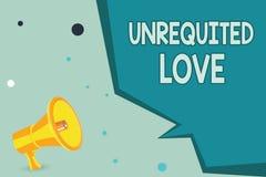 Tekstteken die Onbeantwoorde Liefde tonen Conceptuele die foto niet openlijk zoals zulke door geliefd wordt vergeld of wordt begr stock illustratie
