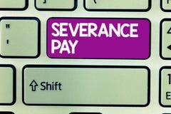 Tekstteken die Ontslagpremie tonen Conceptueel die fotobedrag aan een werknemer op de beëindiging van een contract wordt betaald royalty-vrije stock afbeeldingen