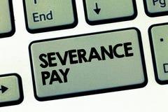 Tekstteken die Ontslagpremie tonen Conceptueel die fotobedrag aan een werknemer op de beëindiging van een contract wordt betaald royalty-vrije stock afbeelding