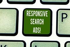 Tekstteken die Ontvankelijke Zoekenadvertenties tonen Conceptuele foto om de waarschijnlijkheid dat te verhogen uw advertentie To royalty-vrije stock afbeeldingen