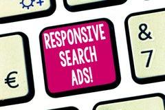 Tekstteken die Ontvankelijke Zoekenadvertenties tonen Conceptuele foto om de waarschijnlijkheid dat te verhogen uw advertentie To stock afbeeldingen