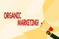Tekstteken die Organische Marketing tonen Conceptuele foto die uw klanten ertoe brengen om aan u te komen natuurlijk na verloop v royalty-vrije illustratie