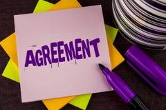 Tekstteken die Overeenkomst tonen E stock foto
