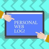 Tekstteken die Persoonlijke Weblog tonen Conceptuele fotowebsite die agenda van informatie of advies de analyse van HU bevat vector illustratie