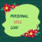 Tekstteken die Persoonlijke Weblog tonen Conceptuele fotowebsite die agenda van informatie of advies Ongelijke Spatie bevat stock illustratie