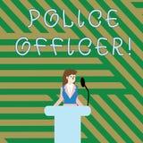 Tekstteken die Politieman tonen Conceptuele foto het aantonen wie een ambtenaar van het team van de wetshandhaving is royalty-vrije illustratie
