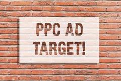 Tekstteken die Ppc Advertentiedoel tonen De conceptuele foto betaalt per klik reclame marketing strategieën het online art. van d stock fotografie
